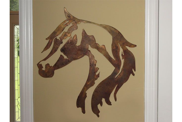 "Metal Horse Wall Art this 25"" x 26"" horse head wall art is a perfect gift for the horse"