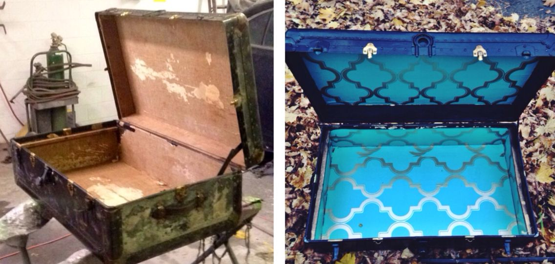 My first DIY Project - an old trunk/chest was given new life to serve as a coffee table.   Inside, before and after