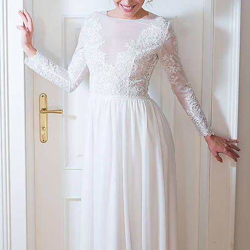 73d8b4729db9 Svadobné šaty z elastického tylu s dlhým rukávom   Dyona