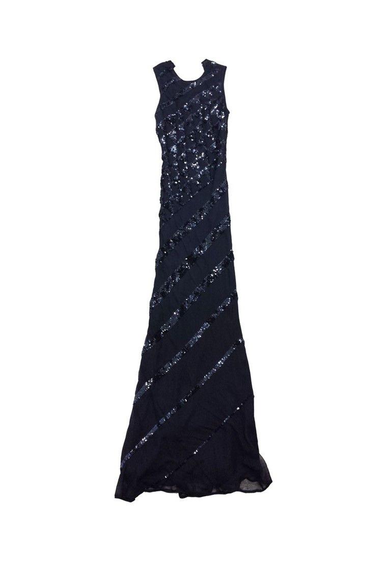 Alberto makali black sequin silk maxi dress sz black sequins