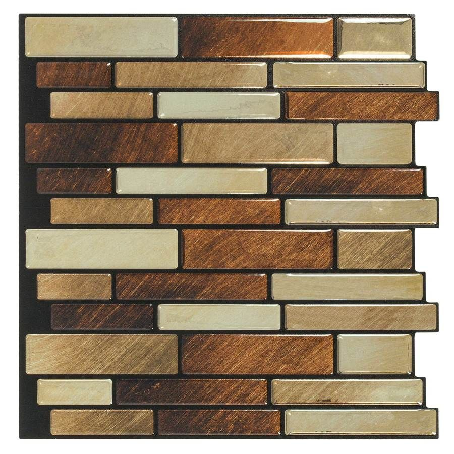 Peel&Stick Mosaics Peel and Stick Brushed Copper Linear