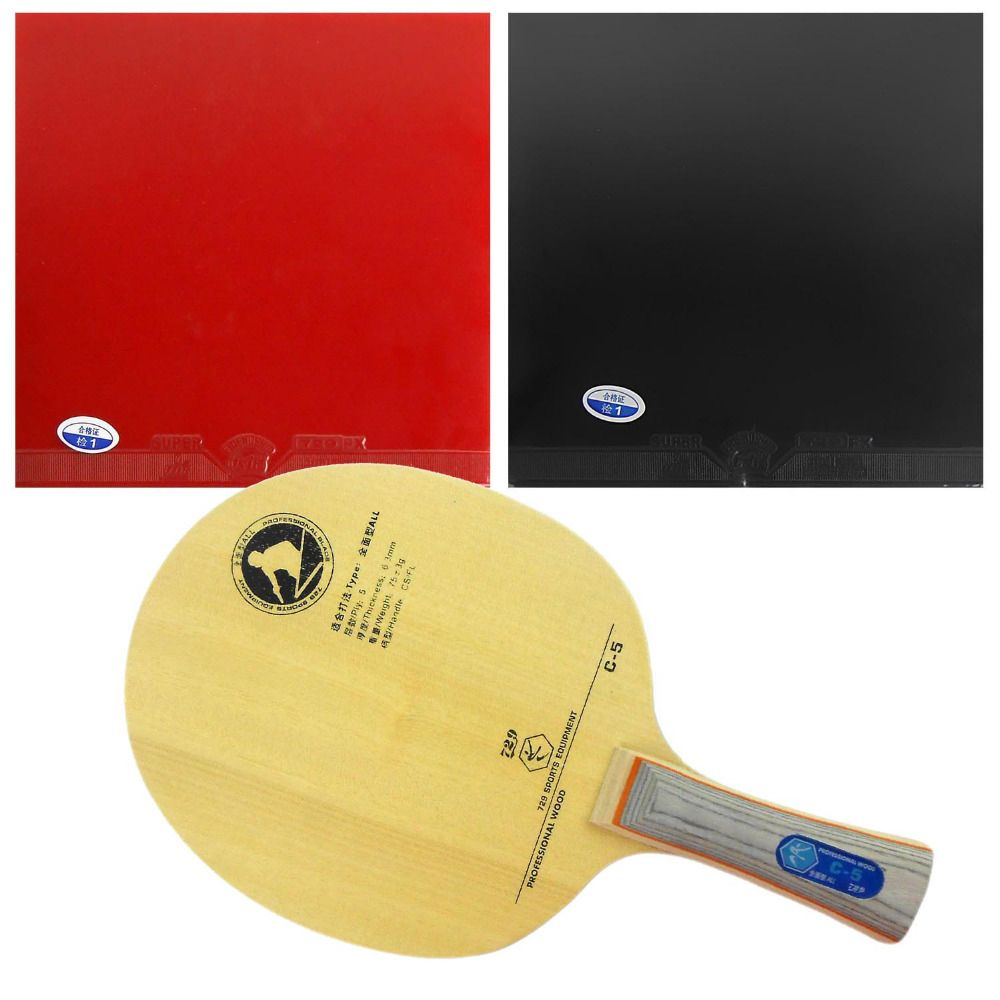 Original Pro Table Tennis Pingpong Combo Racket 729 C 5 Blade With 2x 729 Super Fx Rubbers Long Shakehand Fl Table Tennis Table Tennis Rubber Racquet Sports