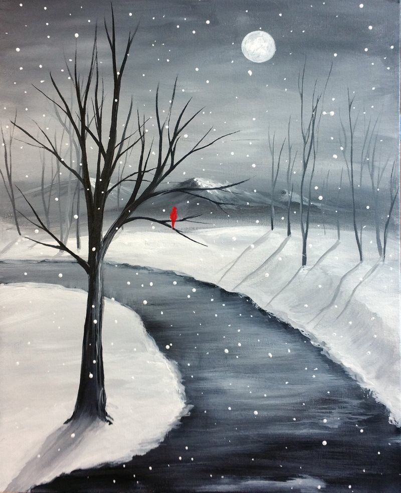 Paint Nite One Lone Red Cardinal Beginner Canvas Painting Idea Winter Scene Winding Path Pretty Tree Branches And Reflections On The Snow