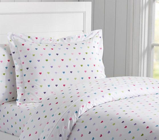 Organic Multicolored Heart Duvet Cover Shams