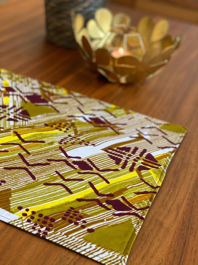 Placemats Set Green Yellow Brown Multicolor Ankara Etsy House Warming Party Gift Yellow And Brown Dining Table Decor