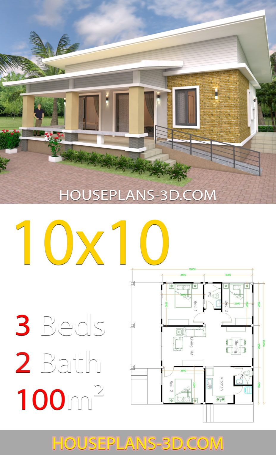 House Design Plans 10x10 With 3 Bedrooms Full Interior House Plans 3d In 2020 House Plans House Design Guest House Plans