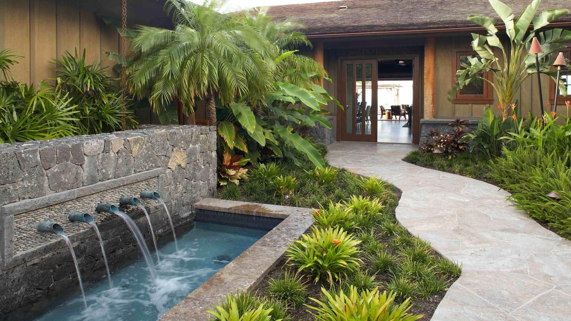 1920x1080 beautiful hawaiian zen garden with waterfall and for Garden pool zen area