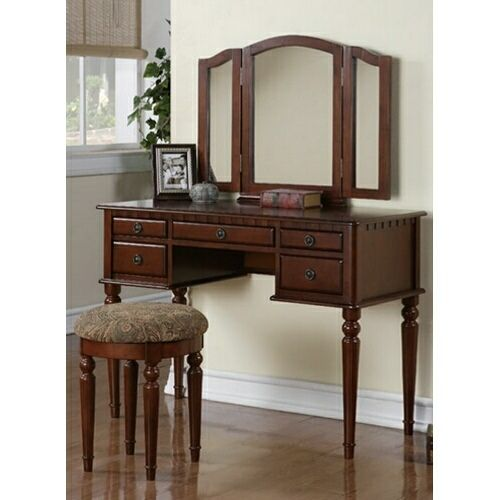 3 Pc Cherry Brown Finish Wood Make Up Bedroom Vanity Set