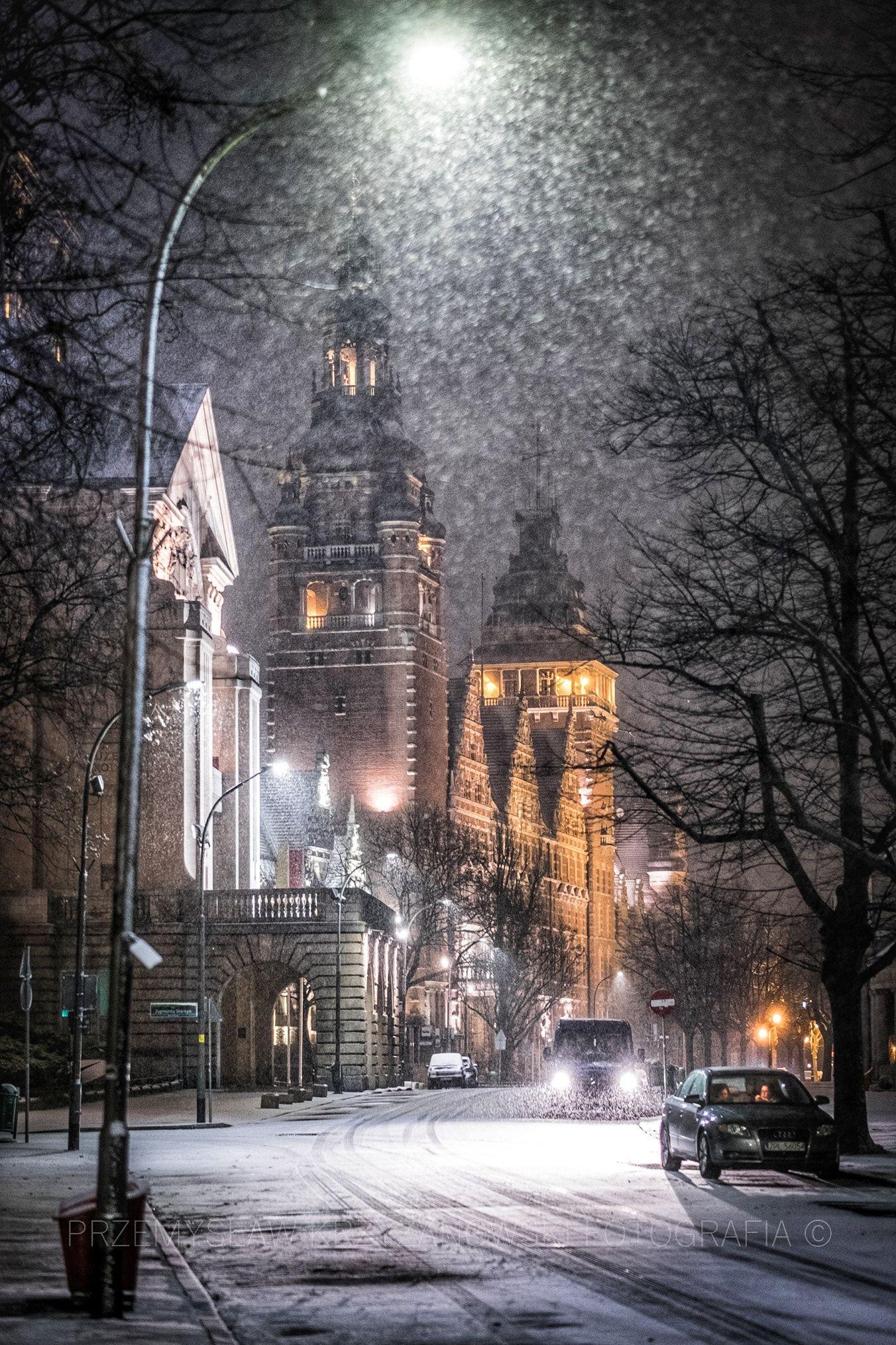 First Snow Winter Scenery Winter Scenes Szczecin