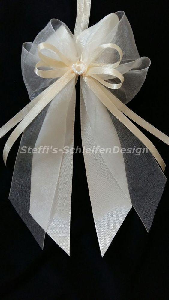 10 Antennenschleifen Autoschleifen Hochzeit Creme Champagner Perlenherz Bogen Hochzeit Autoschleifen Diy Autoschleifen Hochzeit