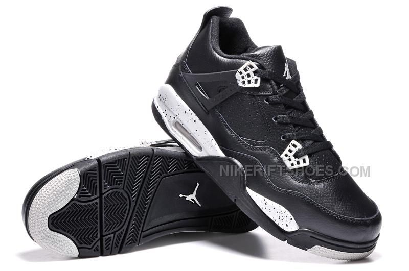 """on sale c57a1 d8148 Buy Best Mens Air Jordan 4 """"Oreo"""" Black Leather White Speckle For Sale from  Reliable Best Mens Air Jordan 4 """"Oreo"""" Black Leather White Speckle For Sale  ..."""