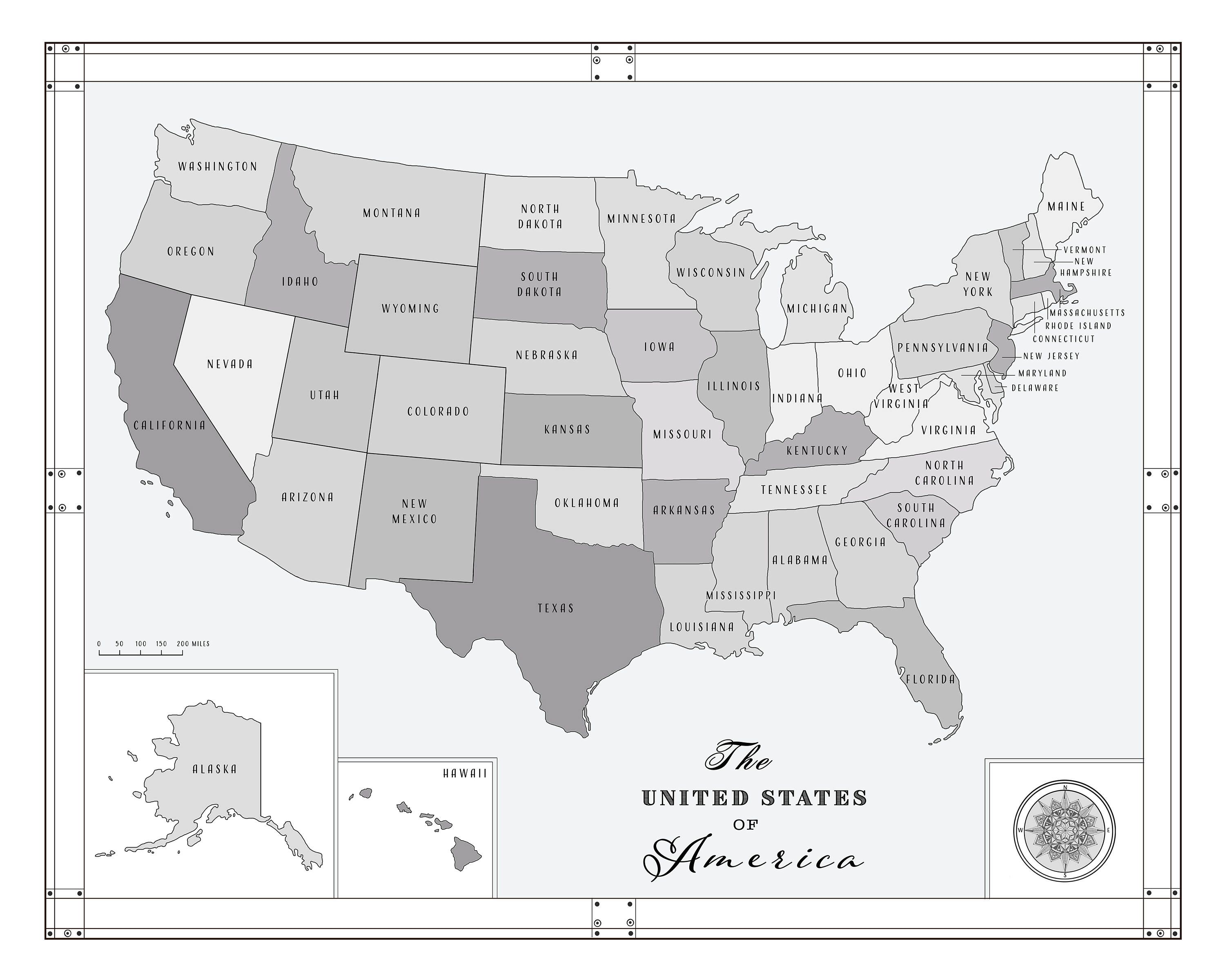 Pin by Kokua Design Company on USA Maps | United states map, Black ...