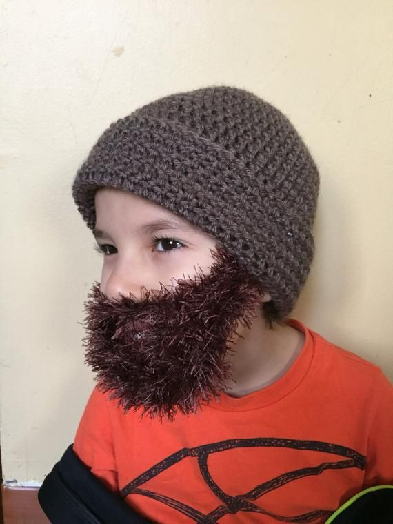 Handmade Crochet Beard hat, beard beanie. Taupe hat with dark brown beard, beard hat, men beard hat, #crochetedbeards