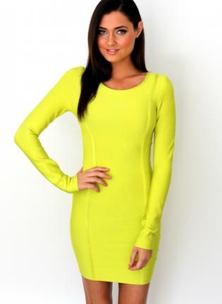 3114bccf494 Yellow Sexy Dress - Colada Neon Lime Long Sleeve