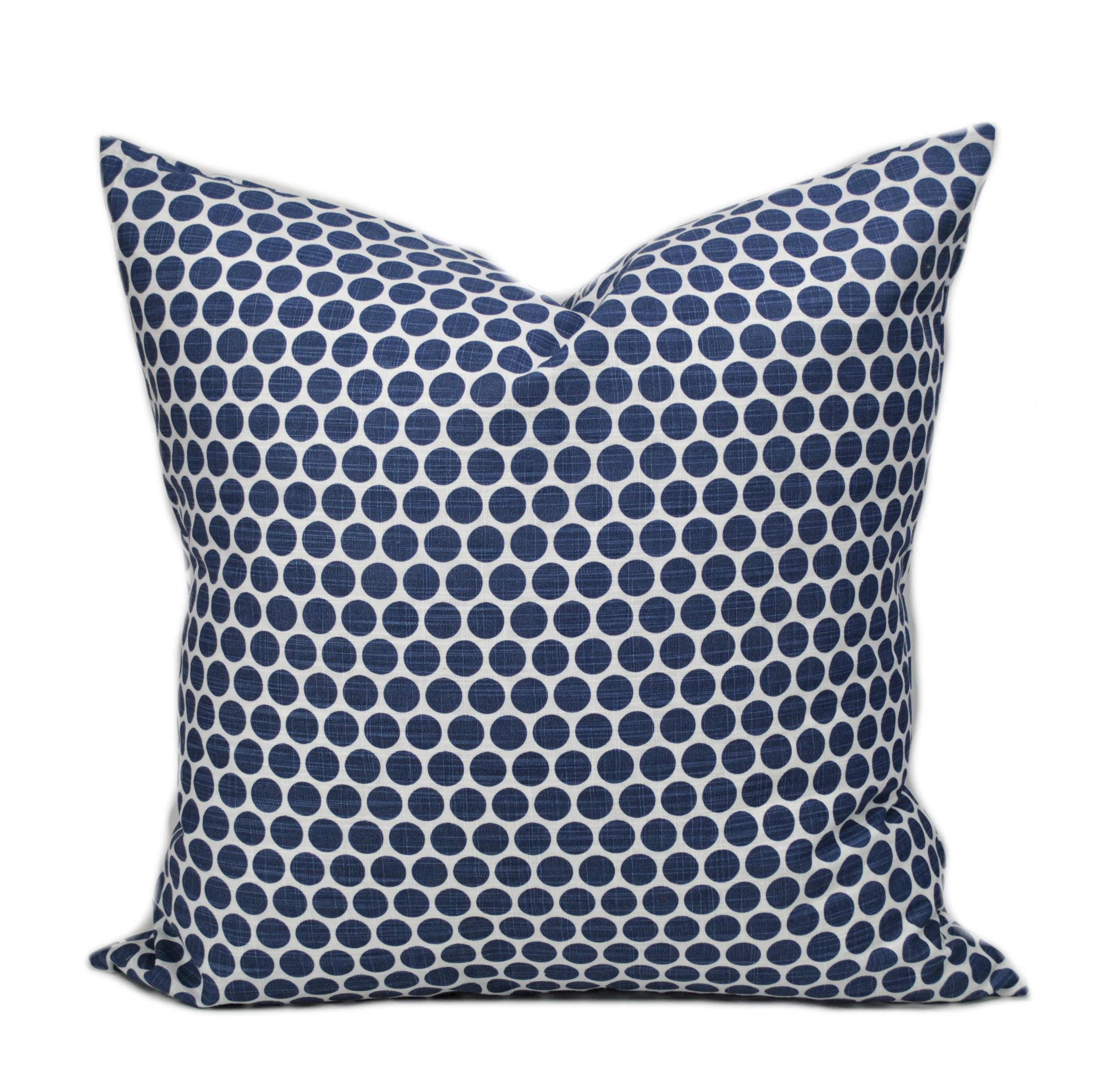 One Polka Dot Pillow Cover, Cushion, Decorative Throw Pillow, Navy