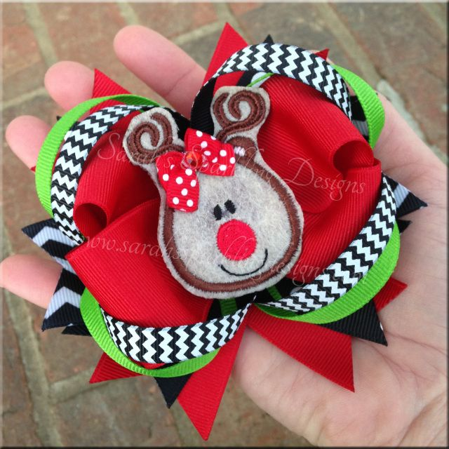Reindeer Hair Bow Style 1 - Christmas Collection - Sarah's Sparkling Designs