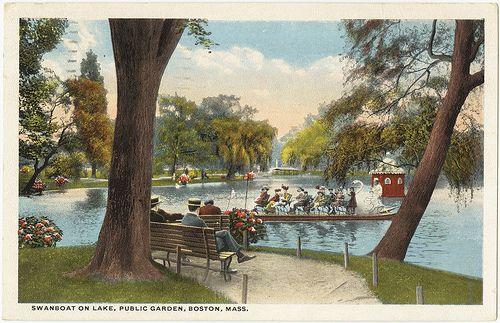 Swanboat on Lake, Public Garden, Boston, Mass. [front] by Boston Public Library, via Flickr