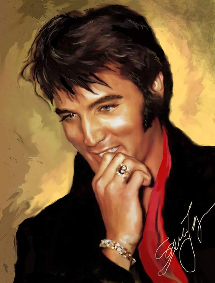 """( 2015 IN MEMORY OF ★ † ♪♫♪♪ ELVIS PRESLEY """"Sara Lynn Sanders latest painting."""" ) ★ † ♪♫♪♪ Elvis Aaron Presley - Tuesday, January 08, 1935 - 5' 11¾"""" - Tupelo, Mississippi, USA. Died; Tuesday, August 16, 1977 (aged of 42) Memphis, Tennessee, U.S. Resting place Graceland, Memphis, Tennessee, U.S. Education. L.C. Humes High School Occupation Singer, actor Home town Memphis, Tennessee, USA. Cause of death; (cardiac arrhythmia)."""