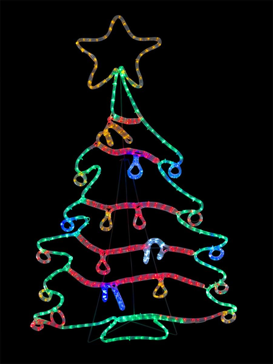 Christmas Tree With Decorations Led Rope Light Silhouette 1 2m