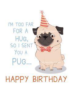 Party Pug Birthday Card Approximately 5 X 7 Blank By Marclopez Happy Birthday Pug Birthday Wishes Happy Birthday Dog