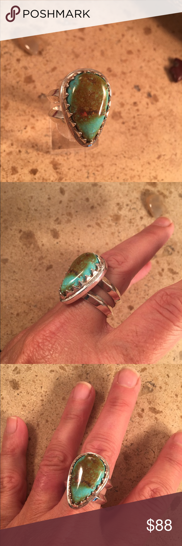 Navajo Turquoise & Sterling ring size 7.5 signed This wonderful piece is made of Sterling Silver and  Carico Lake Turquoise and is a size 7.5. The length is right at 1 inch long and 3/4 of an inch wide. (At the widest pint) This piece is signed by the artist Ceejaye Livingston  and stamped Sterling.   Please contact me with any questions and thank you for looking. Jewelry Rings