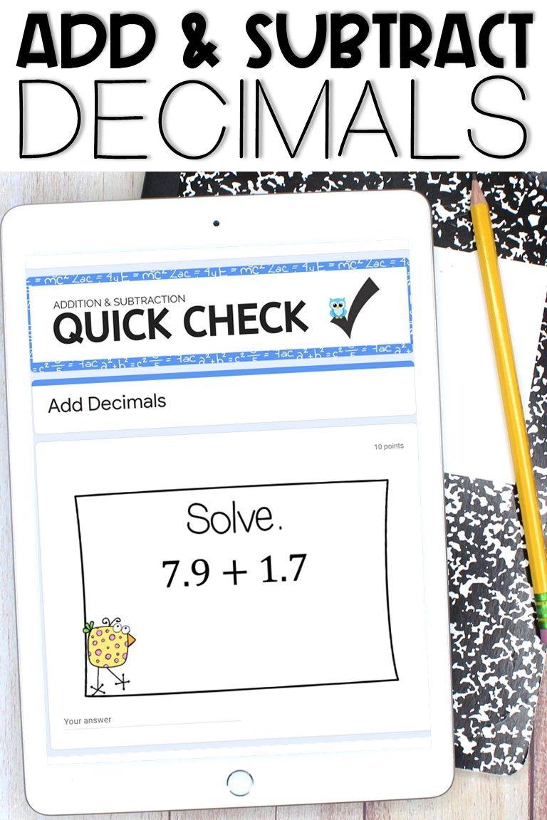 Adding And Subtracting Decimals Using Google Forms Subtracting Decimals Worksheet Subtracting Decimals Decimals Adding decimals not lined up worksheet