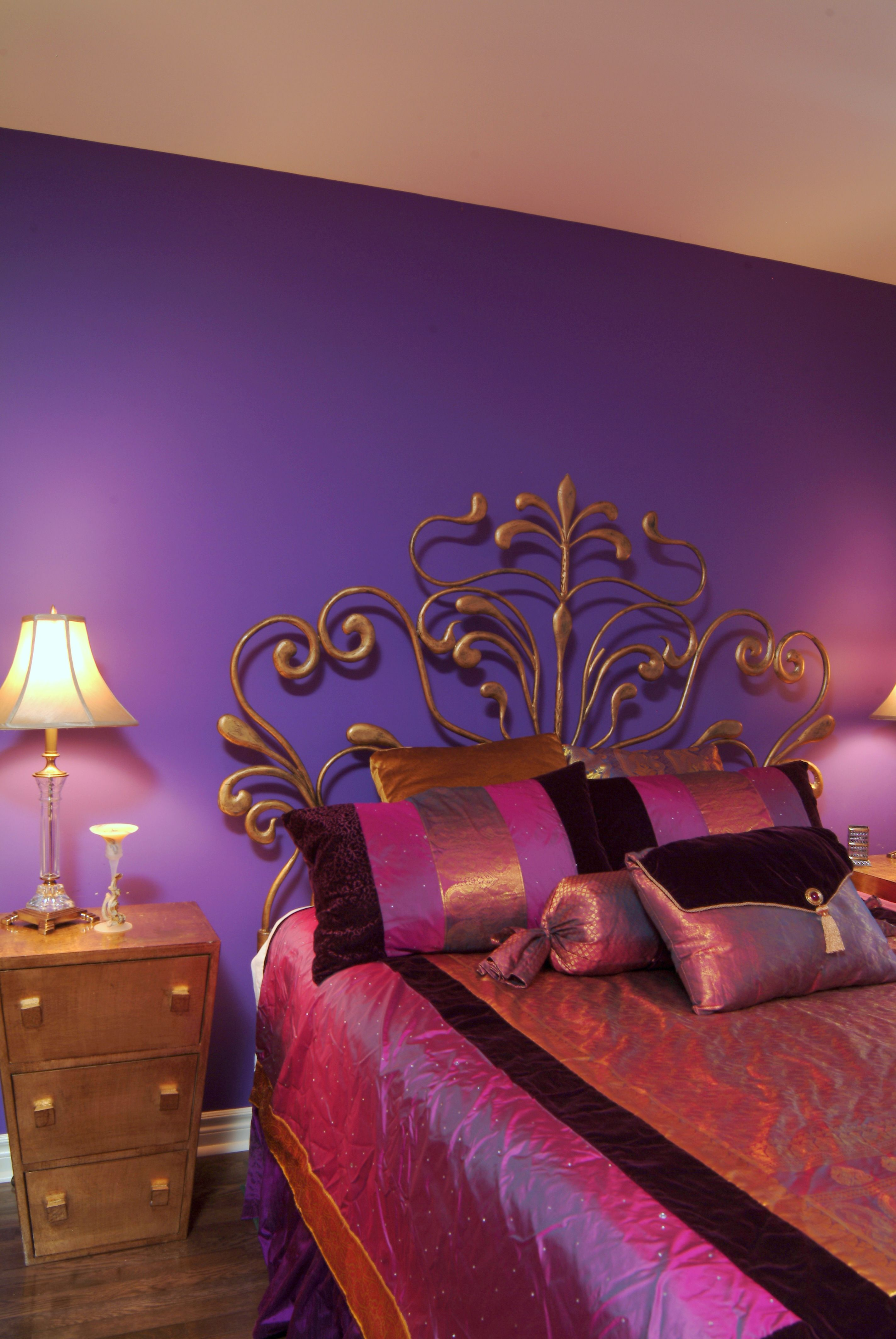 Bohemian Style bedroom designed by Jane Hall Design with custom made bedding and lampshades.