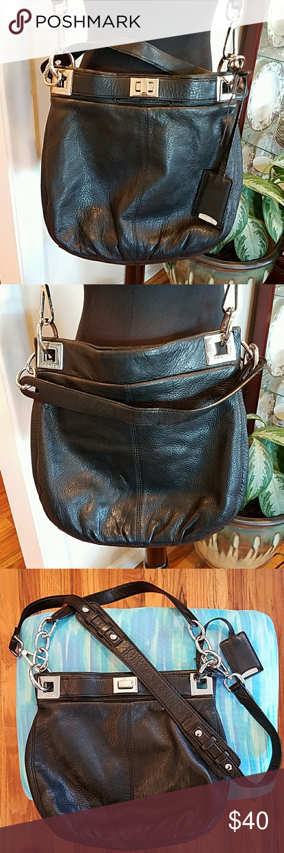 """Calvin Klein Black Leather Crossbody Bag This is such a versatile nice leather crossbody bag! It has a magnetic closure and 2 open flaps and 1 zippered pocket on the inside.  The crossbody strap is removable and is not adjustable. The strap drop for the handle is 7.5"""" and the length of the crossbody strap is 18."""" Such cute detail! EUC! See the fourth picture for some scratches and another few marks on the silver hardware center button, hard to see unless really close up. Calvin Klein Bags…"""
