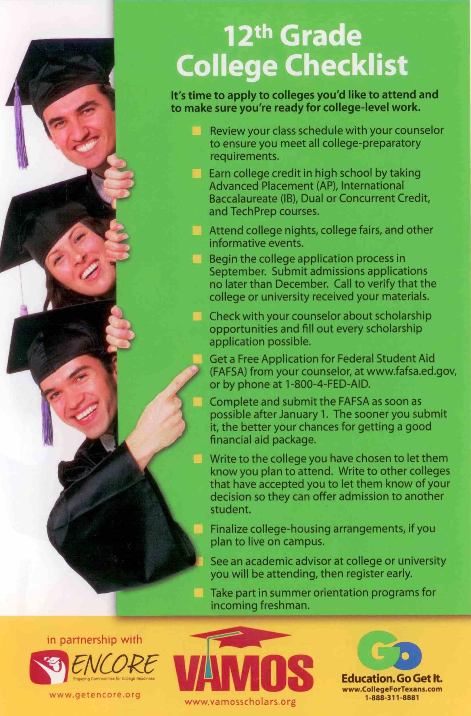 12th Grade College Checklist