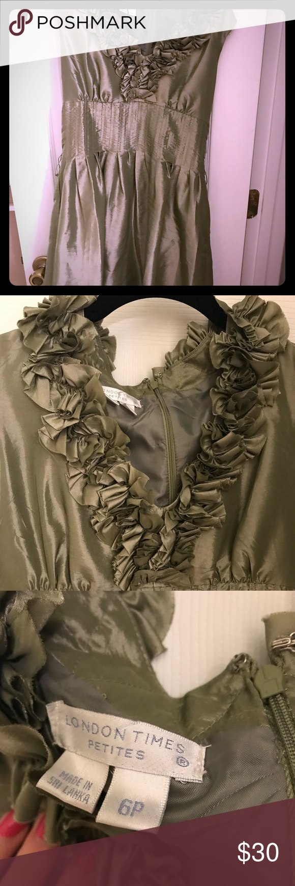 New! Beautiful Sage green dress 50% polyester 50% nylon. New sage green dress with ruffles and sash. London Times Dresses #sagegreendress