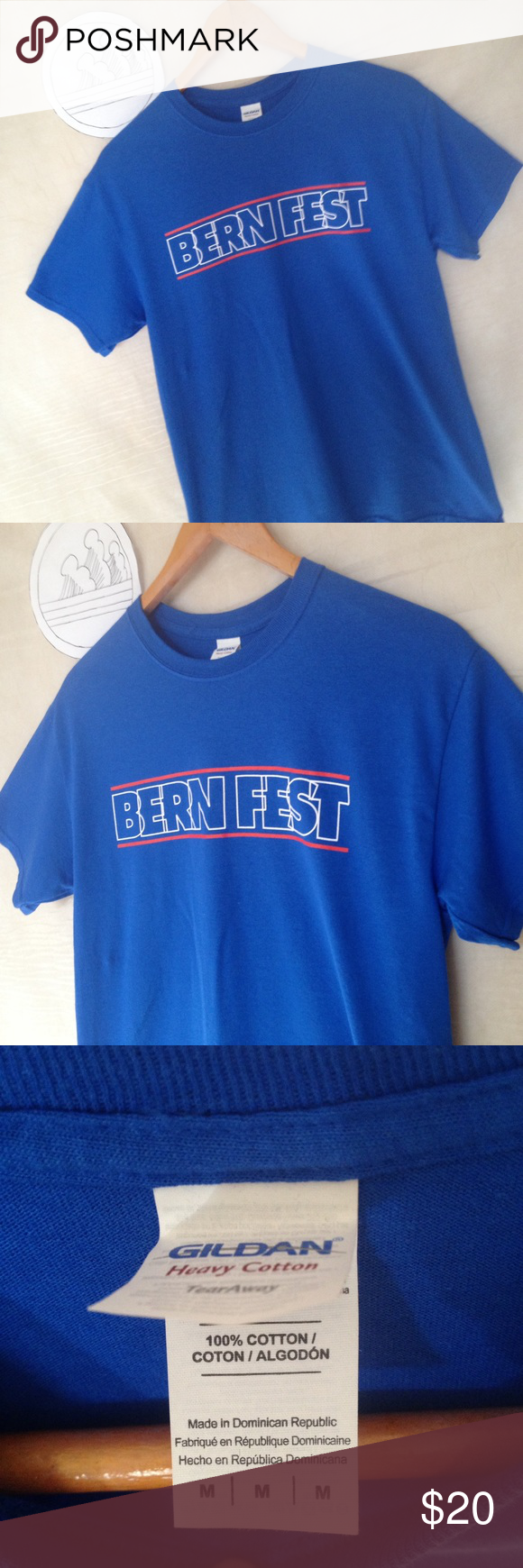 Bern fest Chicago Bernie sanders shirt size M Used shirt with no holes, rips or tears from smoke free environment, thank you.  SKU 112916.001.00Y Gildan Shirts Tees - Short Sleeve