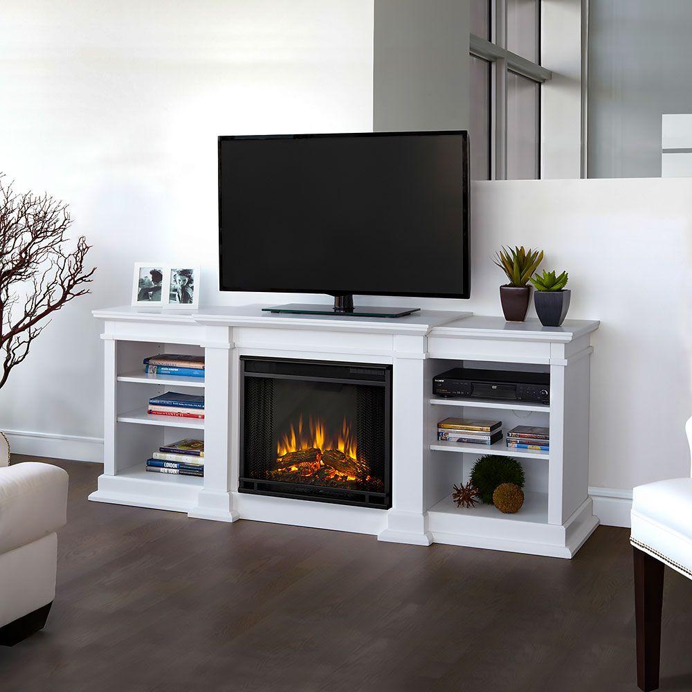 Fresno Electric Fireplace Entertainment Center In White G1200e