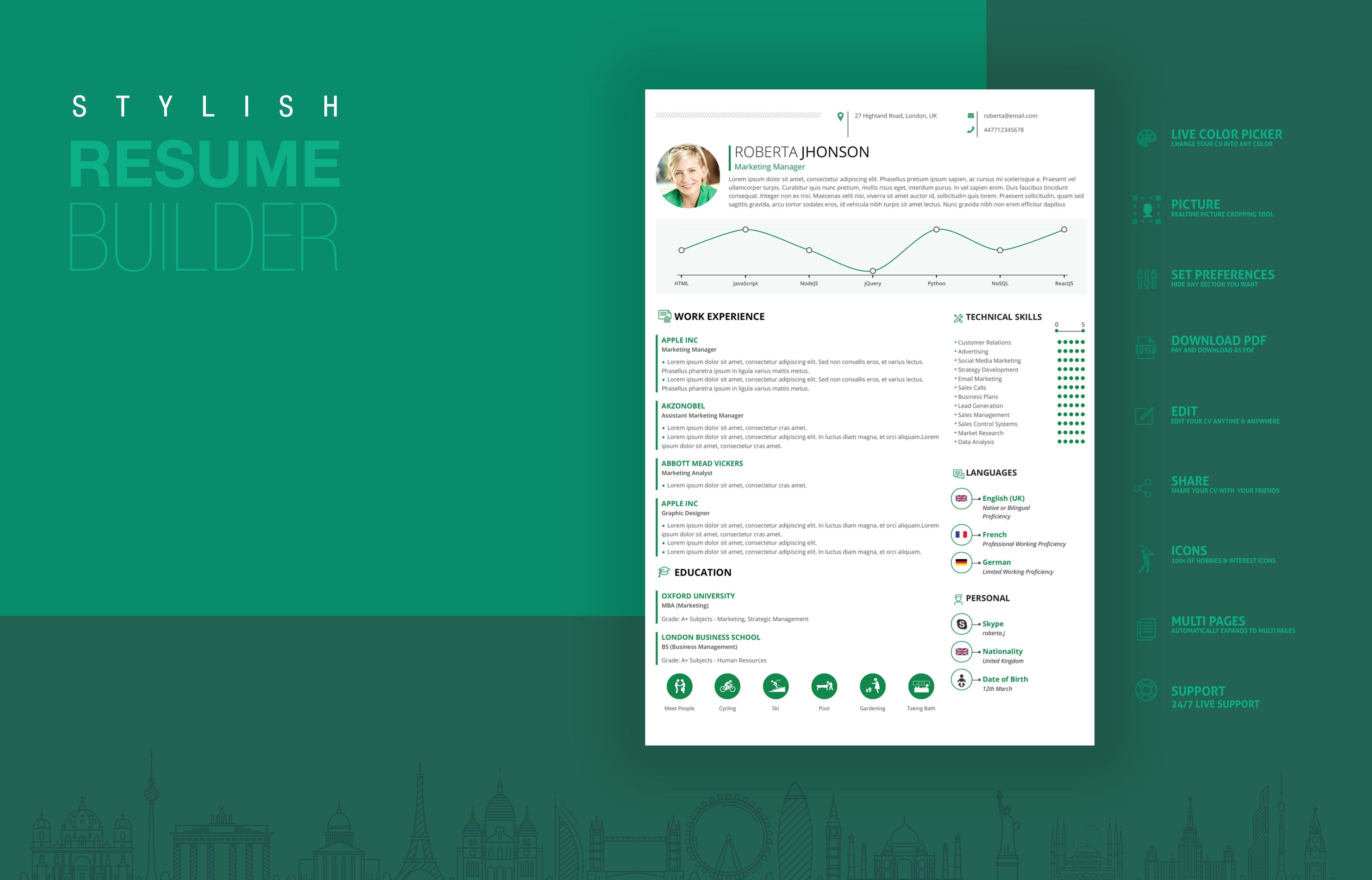 stylish resume resume builder cv cv builder cv template cv