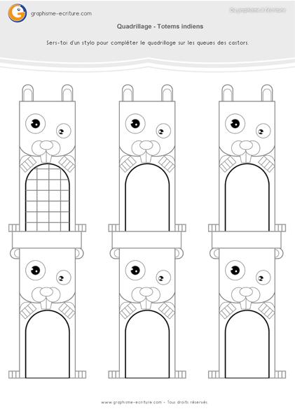 fiche d 39 activit maternelle graphisme gs tracer les quadrillages sur les queues des castors. Black Bedroom Furniture Sets. Home Design Ideas
