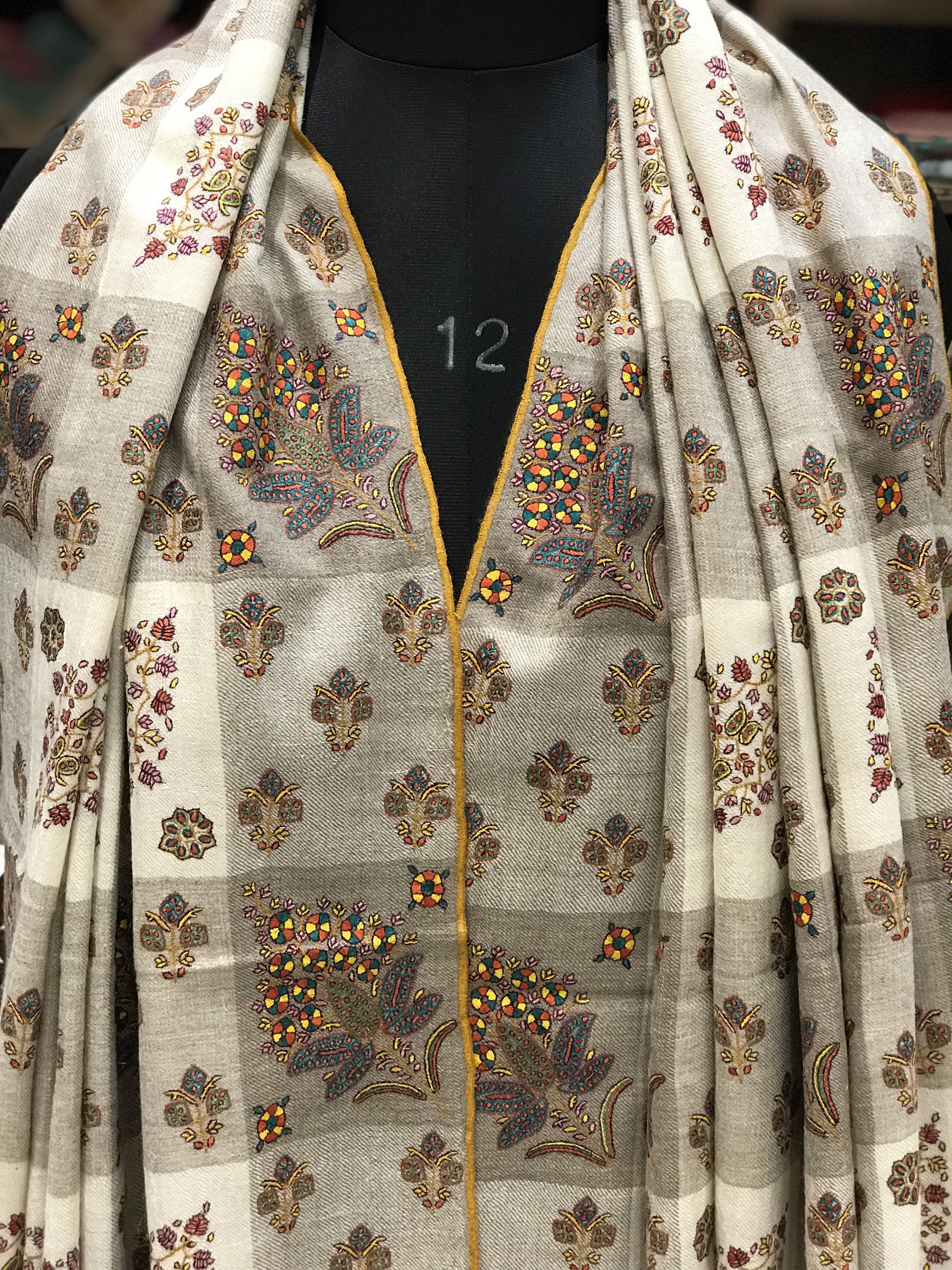 812dcd9d65 Papier Mache Hand Embroidered Pure Pashmina Shawl, White Pure Cashmere  Woman Shawl, Hand Embroidery