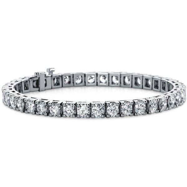 Blue Nile Diamond Tennis Bracelet in 18k White Gold (10 ct. tw.) ($20,650) ❤ liked on Polyvore