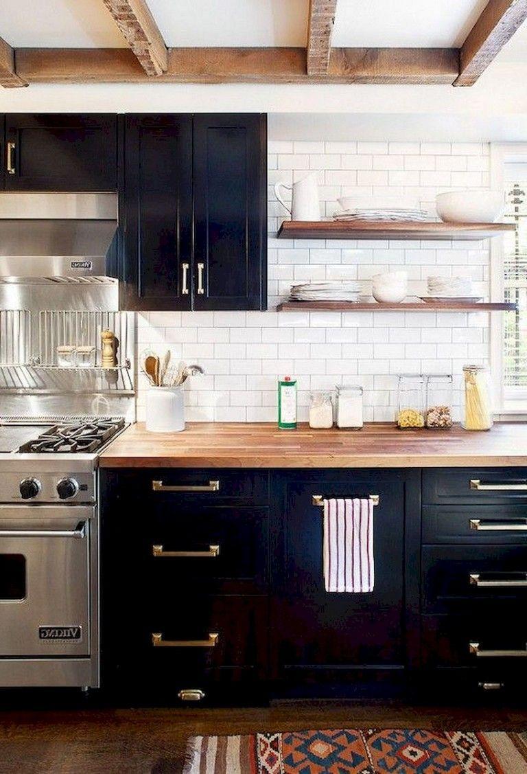 45 Top Apartment Kitchen Cabinets Decor Ideas Black Kitchen Cabinets White Wood Kitchens Kitchen Cabinet Design