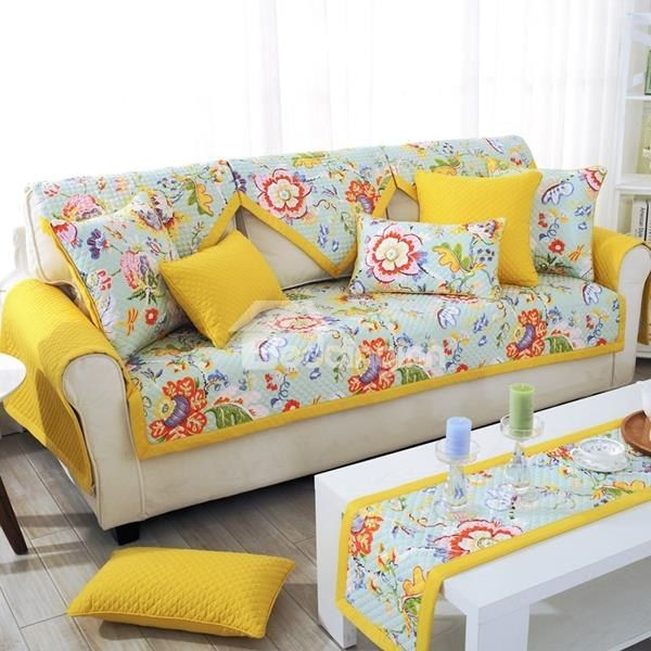 Bright Colored Cotton Three Colors Floral Print Quilting Seam Sofa Covers Diy Sofa Cover Printed Sofa Sofa Covers