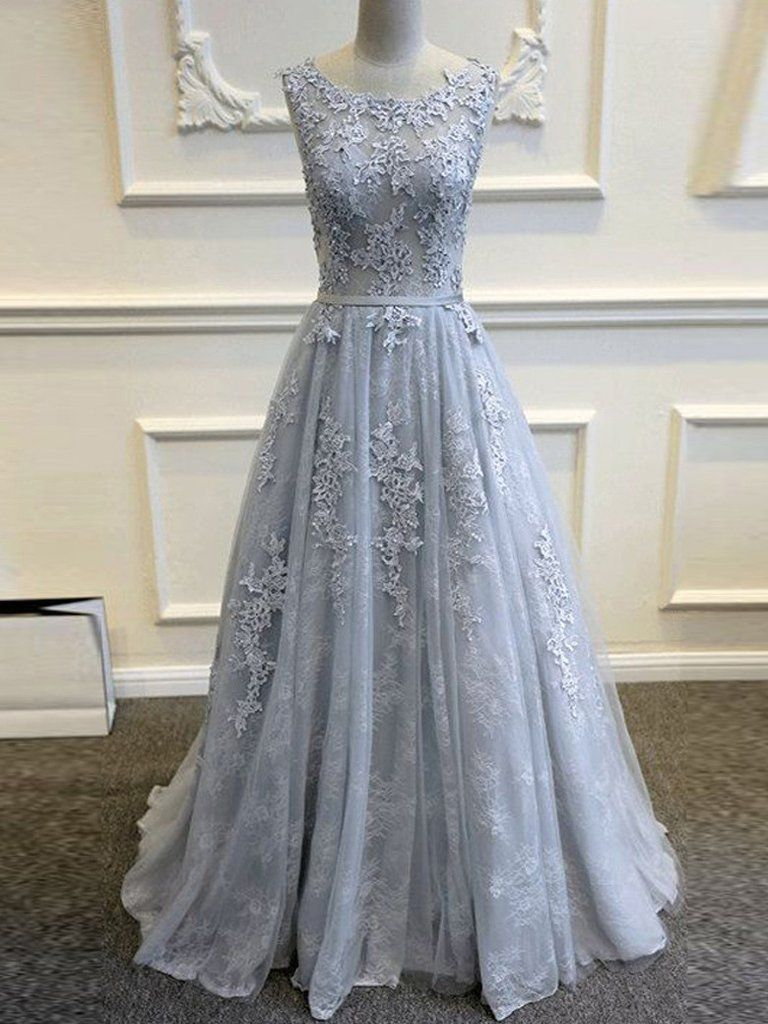 Grey lace wedding dress  Chic Aline Prom Dress Silver Scoop Lace Prom DressesEvening Dress