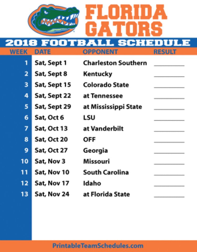 Uf Home Football Schedule 2020.Gator Football Schedule 2018 Florida Gators Football