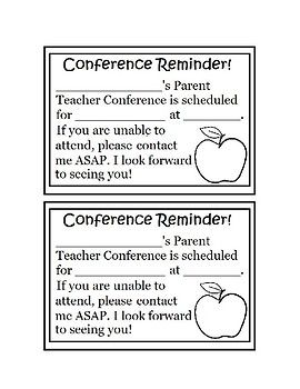 Parent Teacher Conference Reminder  Thank You Note Freebie By Ms