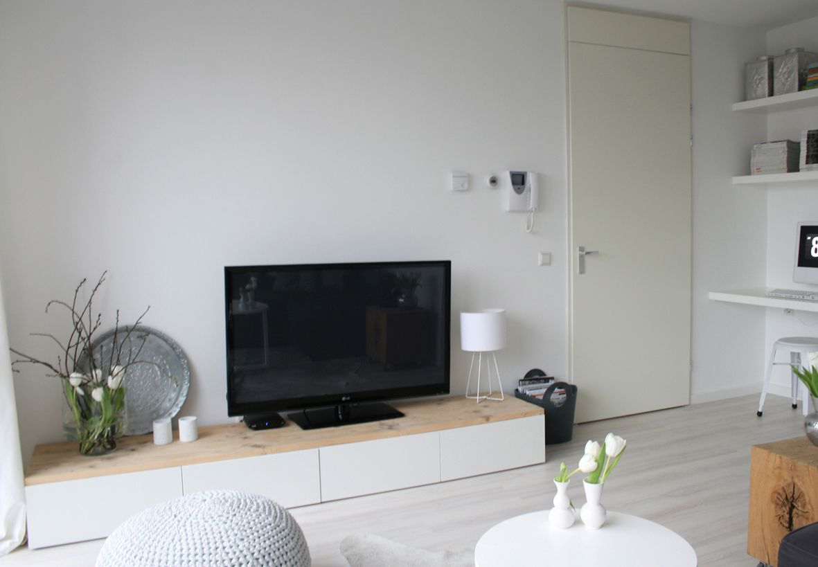 Open Floor Plan Small Space Solution With Low Storage And  # Solution Meuble Tv