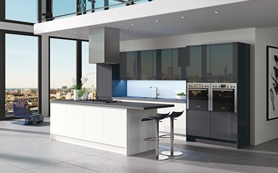 Stylish fitted kitchens ancona white anthracite fitted - Ancona cocinas ...