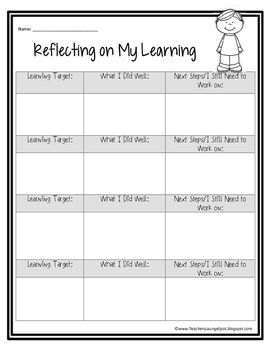 Reflecting on Learning FREEBIE | Back To School | Reflective