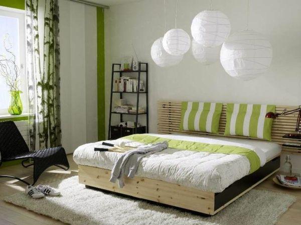 feng shui schlafzimmer farben grün holzmöbel bett teppich verlegen - schlafzimmer feng shui farben