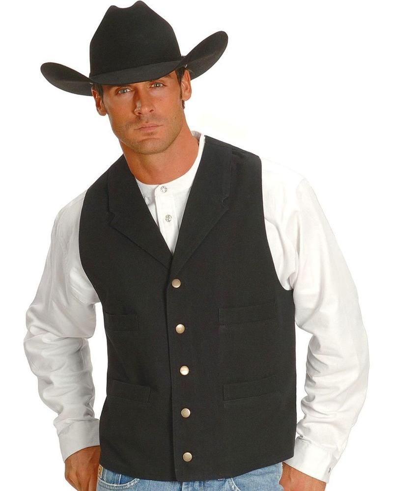 00e0b1912 Scully Old West Vest Lined Button Cotton Canvas XXL Big & Tall Black RW041  $75. #Scully #Vest