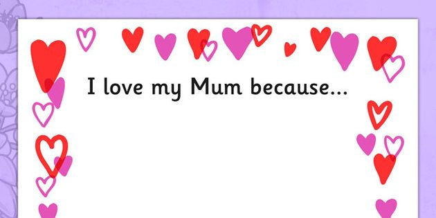 Mothers Day I Love My Mum Because Full Page Borders Page Border