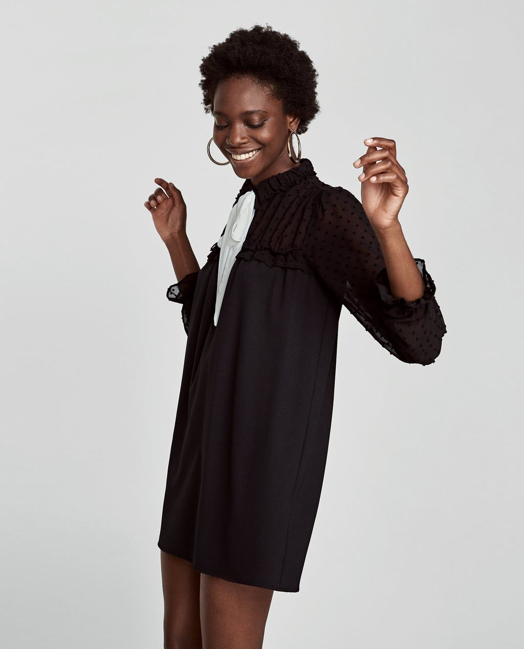 CONTRAST DRESS WITH SHEER SLEEVES-View all-DRESSES-WOMAN | ZARA United Kingdom
