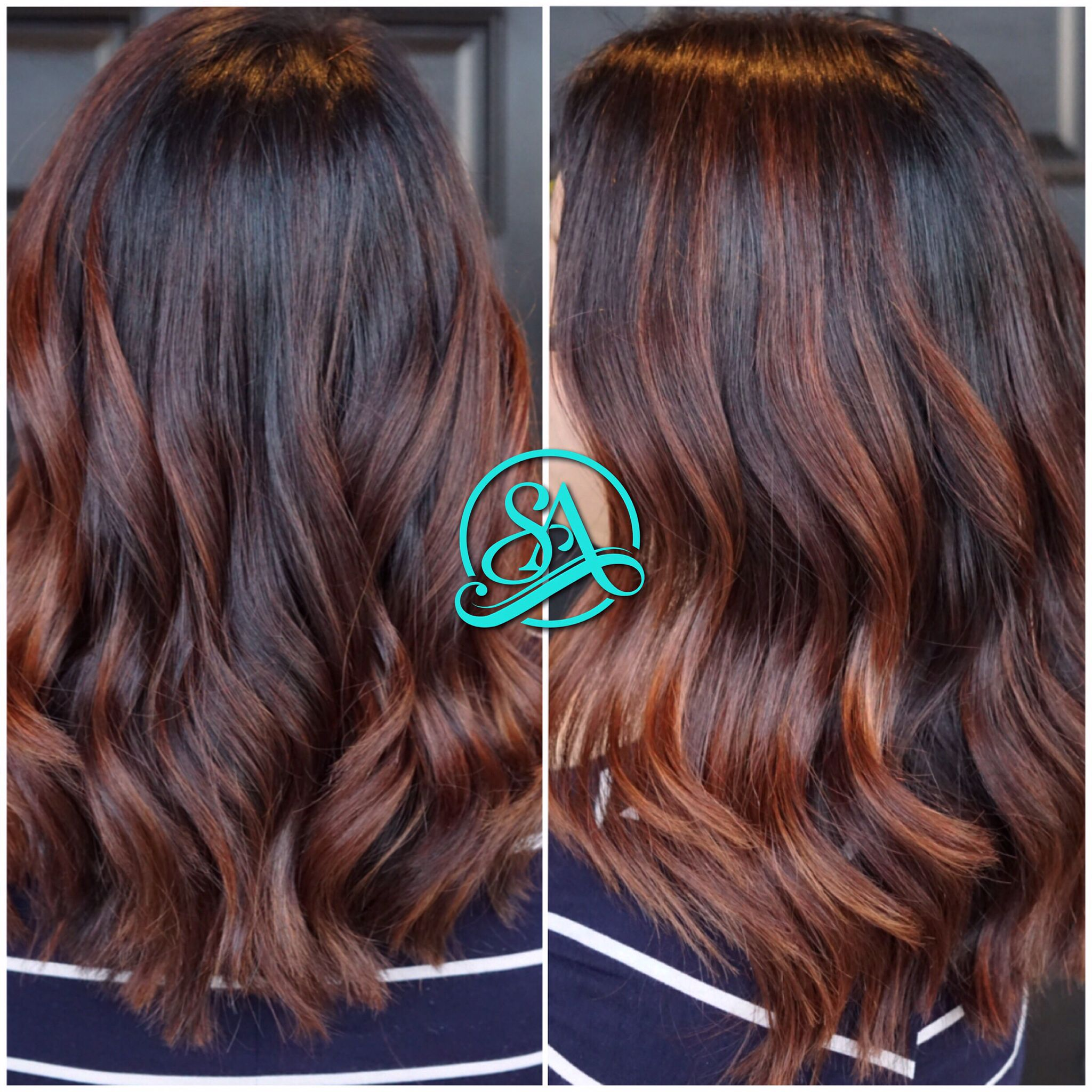 Dark brown and cinnamon balayage. Greenville hair salon