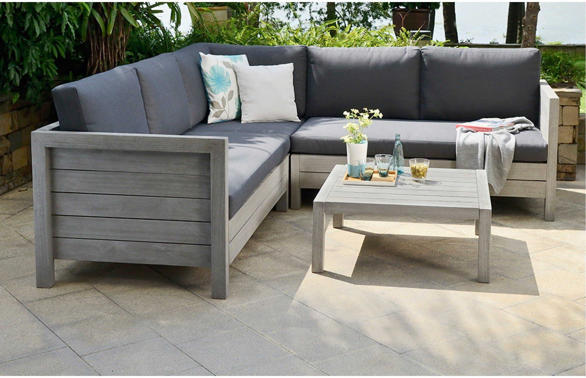 Discover The Uk S Most Unique Range Of Designer Garden Sofa Sets In Wood Teak And Rattan With Free De In 2020 Gray Patio Furniture Garden Sofa Set Corner Sofa Outdoor